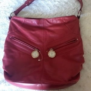 Tignanello handbag hobo red wine color